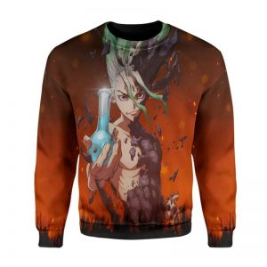 Ishigami Senkuu Classic Red 3D Printed Dr Stone Sweatshirt S Official Dr. Stone Merch