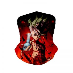 Senku Ishigami Classic Red Dr.Stone Neck Gaiter Bandanna Scarf Default Title Official Dr. Stone Merch